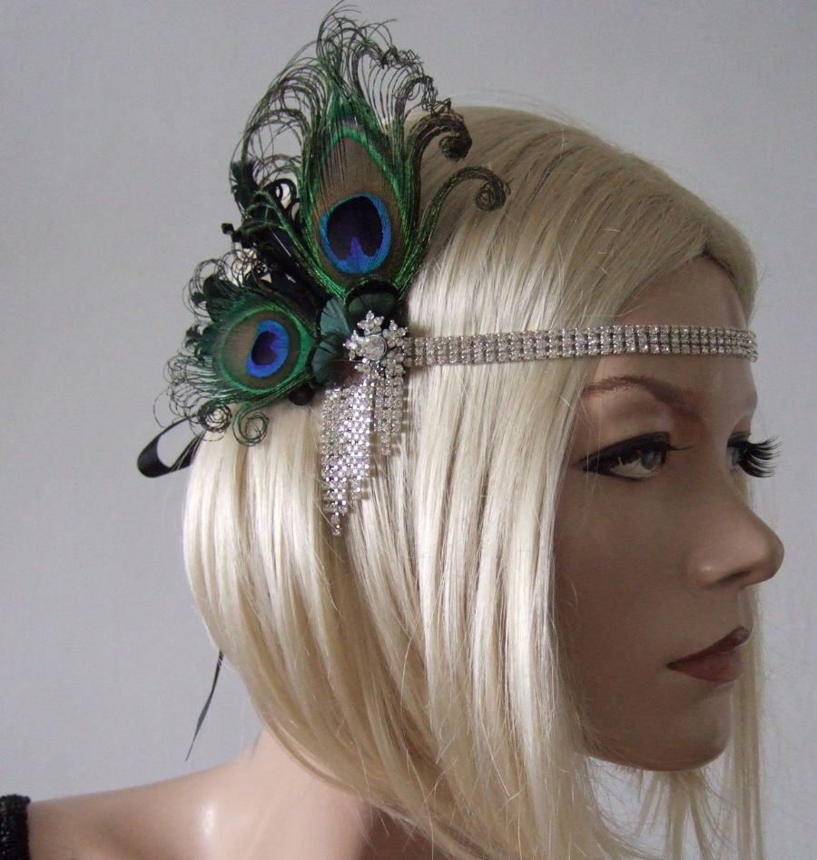 "Peacock Feathers and Crystal Flapper 1920's Art Deco Headband Headpiece - Gatsby ""Cally"""
